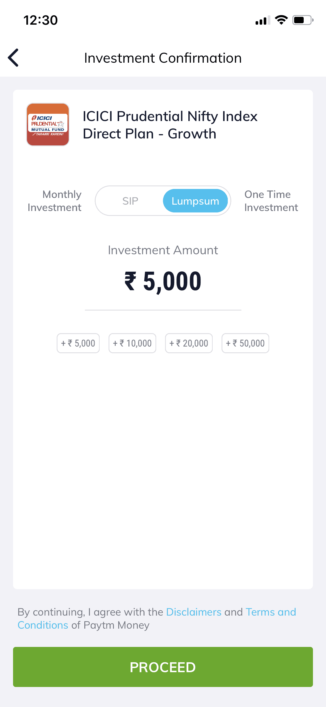 Paytm Money app Investment Amount Screen