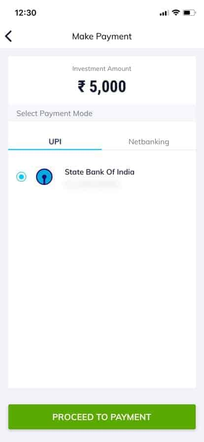Paytm Money app Payment Screen