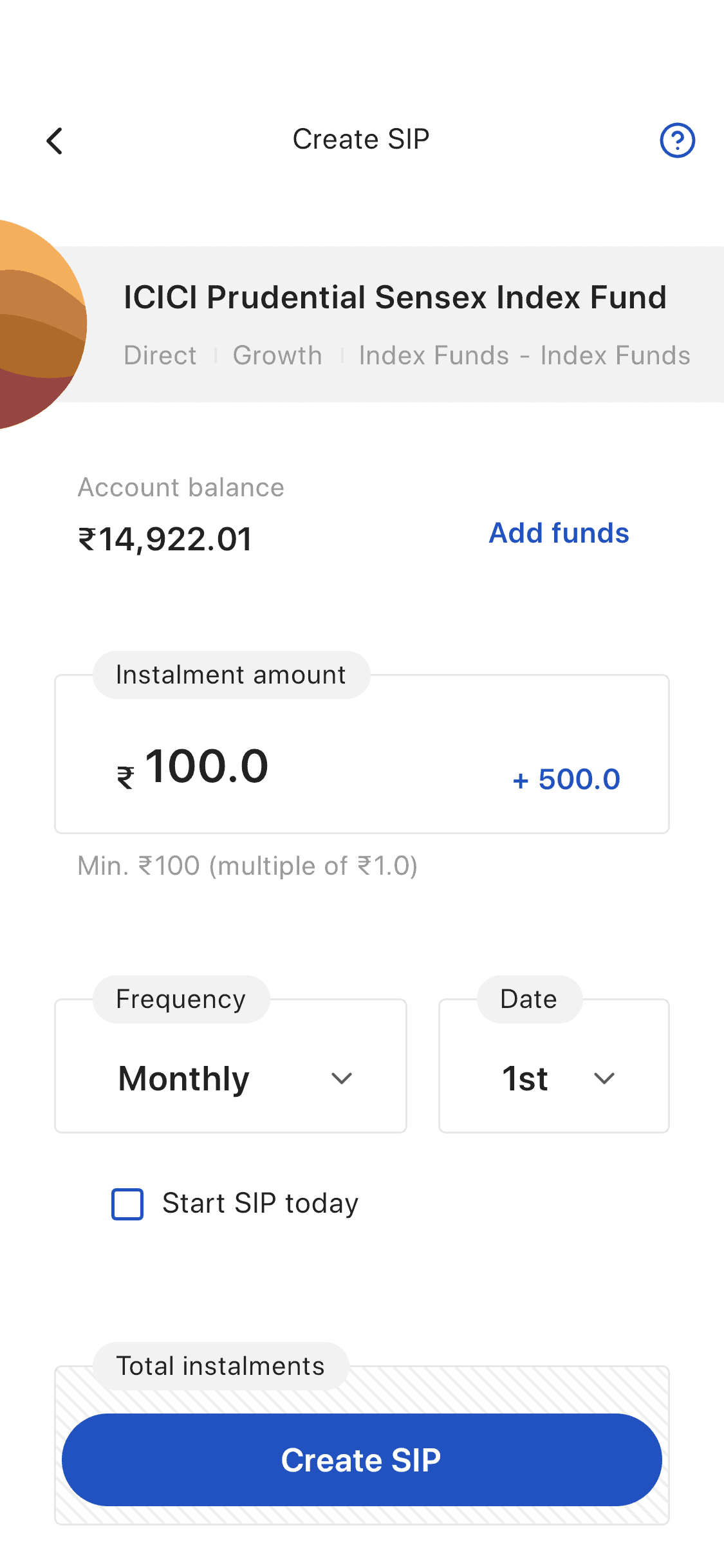 Zerodha Coin index fund SIP Investment Confirm Screen