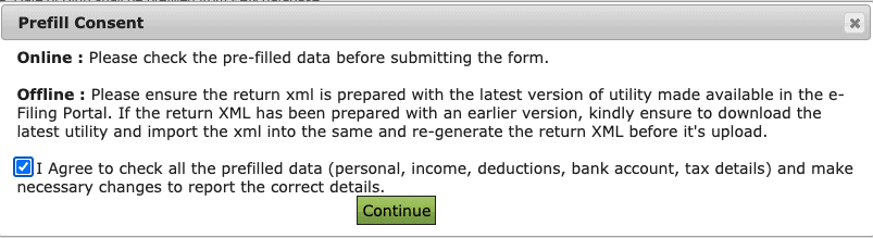 Terms page in Income Tax Department Website